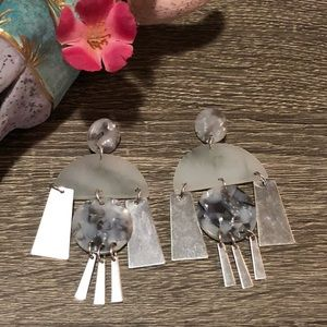 Silver and marble dangle earrings